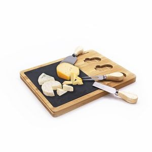 Bamboo/Slate Cheese Board and Tool Set